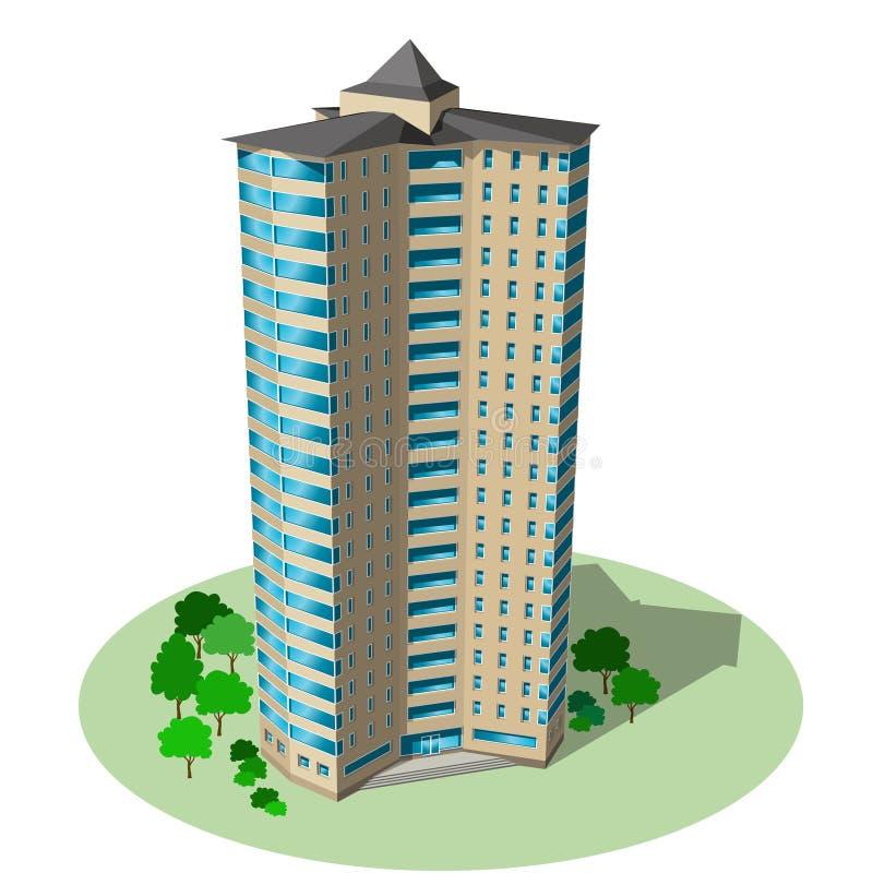 Biurowy i mieszkaniowy drapacz chmur Wektorowy isometric buduje iso ilustracji
