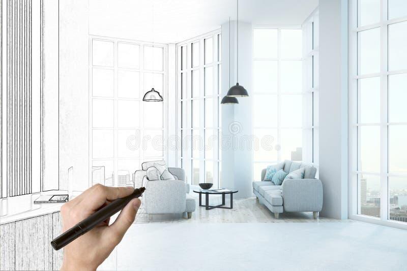 Biurowy izbowy nakreślenie ilustracji