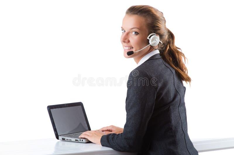 Download Biurowy Kierownik Pisać Na Maszynie Na Laptopie Odizolowywającym Na Bielu Obraz Stock - Obraz złożonej z wezwanie, dziewczyna: 57652895