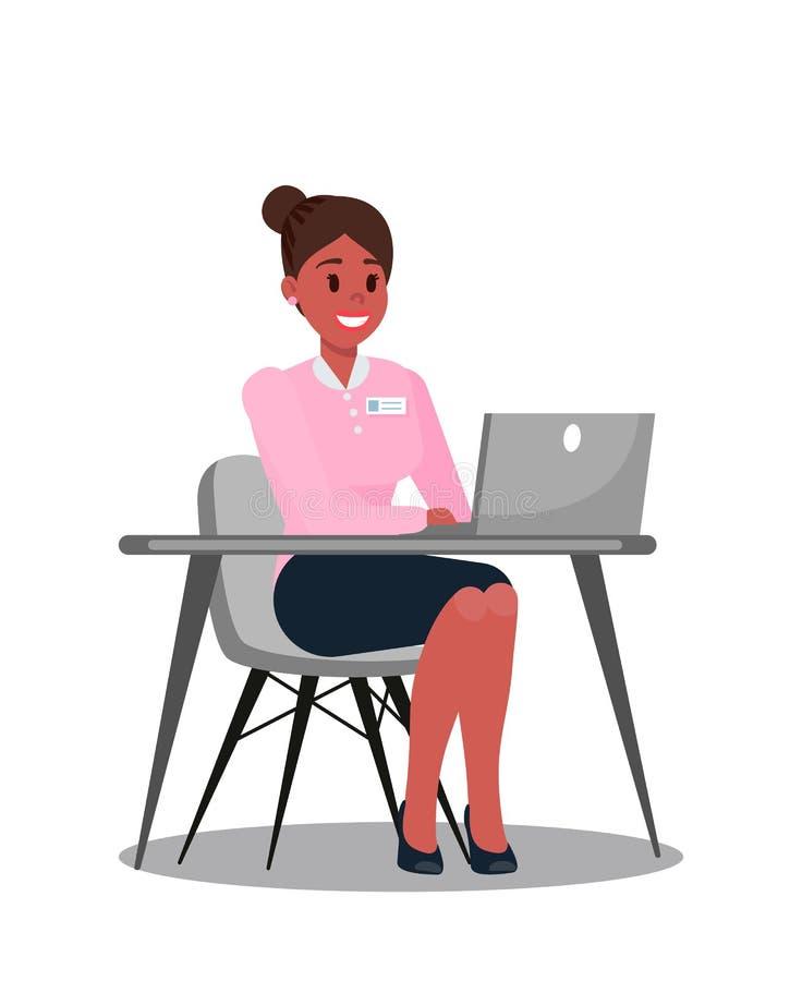 Biurowy kierownik Używa laptopu wektoru ilustrację ilustracji