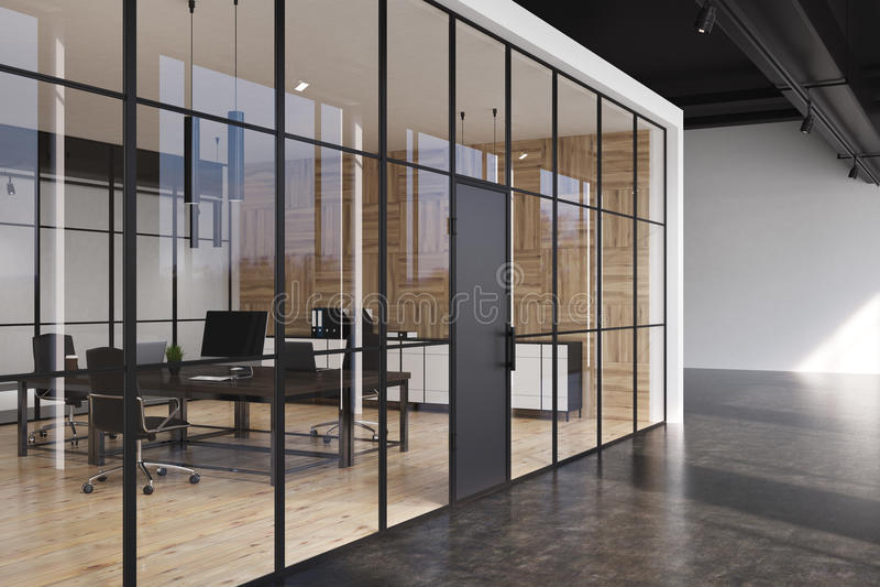 Biurowy korytarz, szklane ściany, strona ilustracja wektor