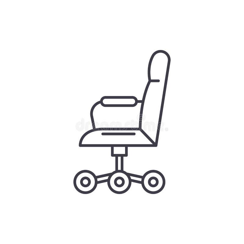 Biurowy krzesło od bocznego kreskowego ikony pojęcia Biurowy krzesło od bocznej wektorowej liniowej ilustracji, symbol, znak royalty ilustracja