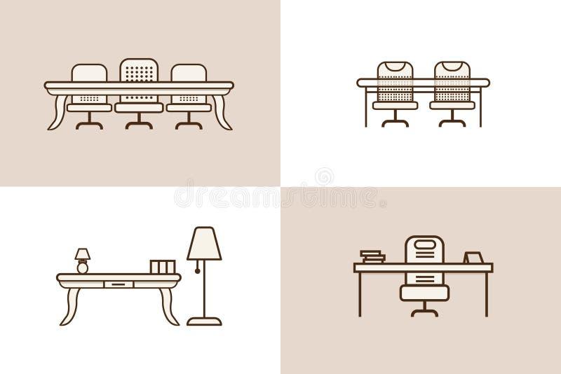 Biurowy krzesło stołu ikony meble ilustracji