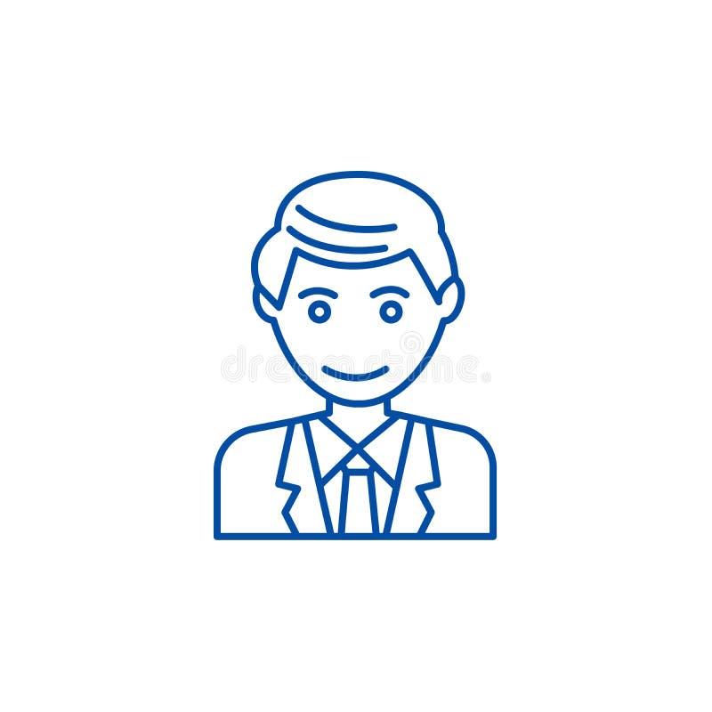Biurowy mężczyzna, biznesmen ikony kreskowy pojęcie Biurowy mężczyzna, biznesmena płaski wektorowy symbol, znak, kontur ilustracj royalty ilustracja