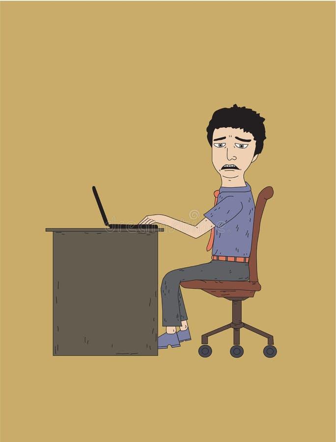 Biurowy mężczyzna boredjob ilustracja wektor