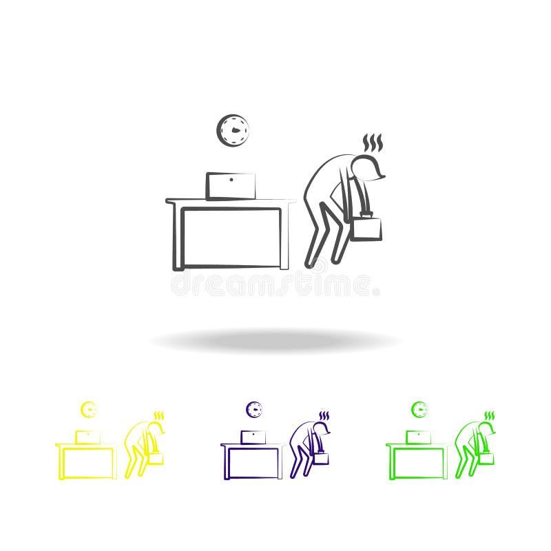 Biurowy mężczyzna męczył końcówka czasu kontur barwić ikony Element biurowa życie ilustracja Znaki i symbol inkasowa ikona dla ilustracji