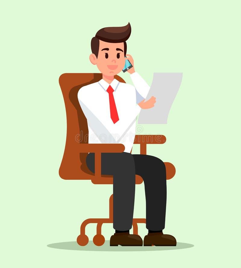 Biurowy mężczyzna Opowiada na telefonu mieszkania ilustracji ilustracja wektor