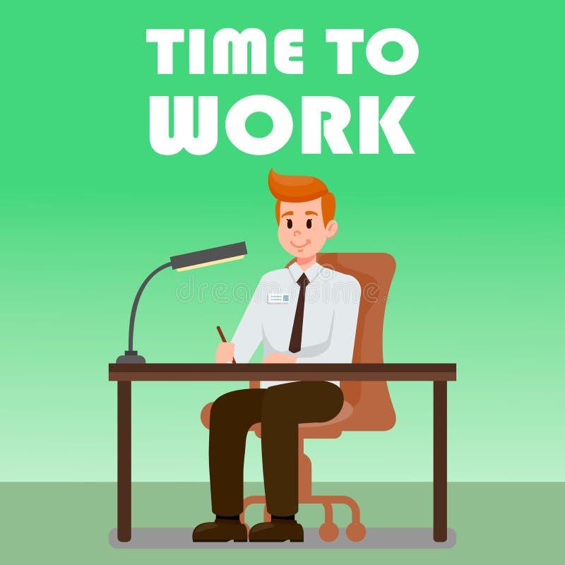 Biurowy mężczyzny obsiadanie przy biurko wektoru ilustracją ilustracja wektor
