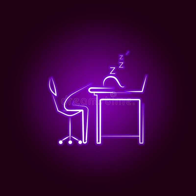 Biurowy m??czyzny sen w pracy linii ikonie w neonowym stylu Element biurowa ?ycie ilustracja Znaki i symbol inkasowa ikona dla ilustracji