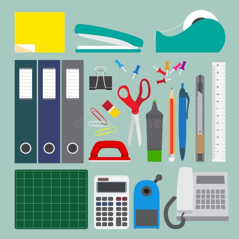 Biurowy materiały ustawiający z prostym stylem. ilustracji