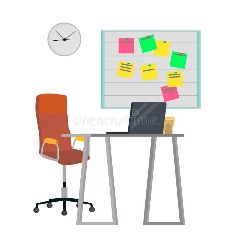 Biurowy miejsca pracy pojęcia wektor Meblarski miejsce pracy Dla programisty, projektant, sprzedawca Przedsiębiorcy budowlanego s royalty ilustracja