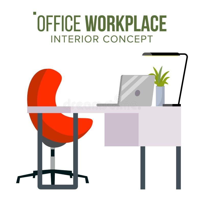 Biurowy miejsca pracy pojęcia wektor Meblarski miejsce pracy Dla szefa Przedsiębiorcy budowlanego Kreatywnie Pracowniany wnętrze  royalty ilustracja