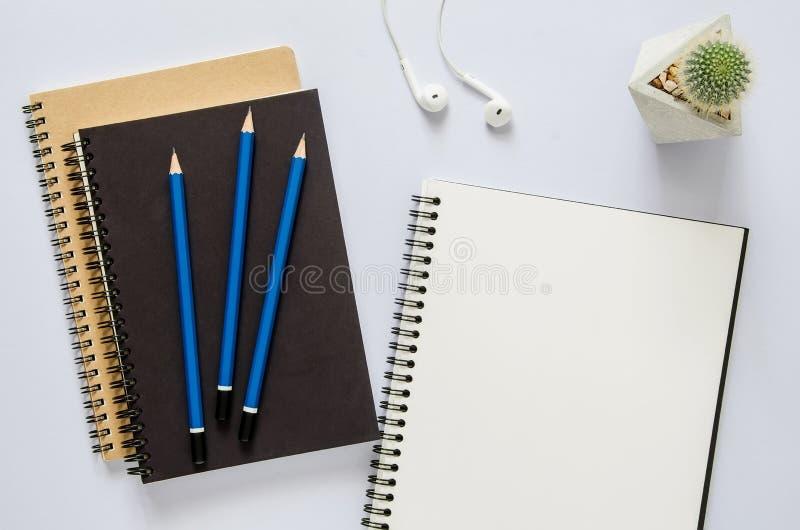 Biurowy miejsca pracy pojęcie Notatnik, kaktus, słuchawka i ołówek, zdjęcia stock