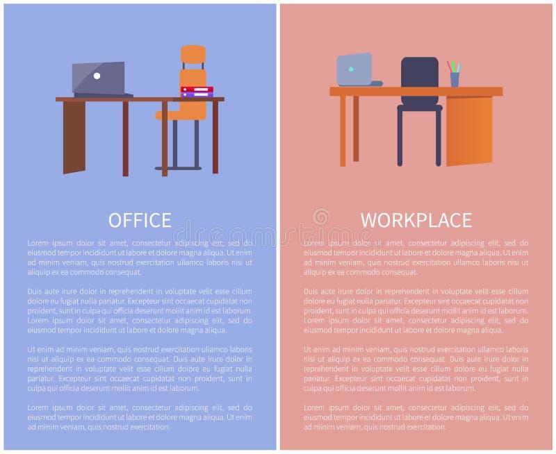 Biurowy miejsce pracy projekta stół, komputer i krzesło, royalty ilustracja