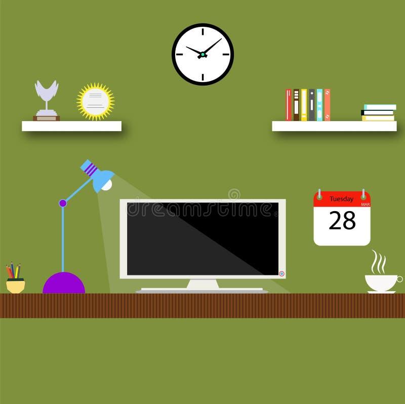 Biurowy miejsce pracy staci roboczej stołu komputer rezerwuje scenę ilustracji