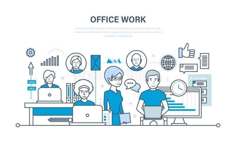 Biurowy miejsce pracy, występu cenienie, analiza rezultaty, planowanie, kontrola, praca zespołowa royalty ilustracja