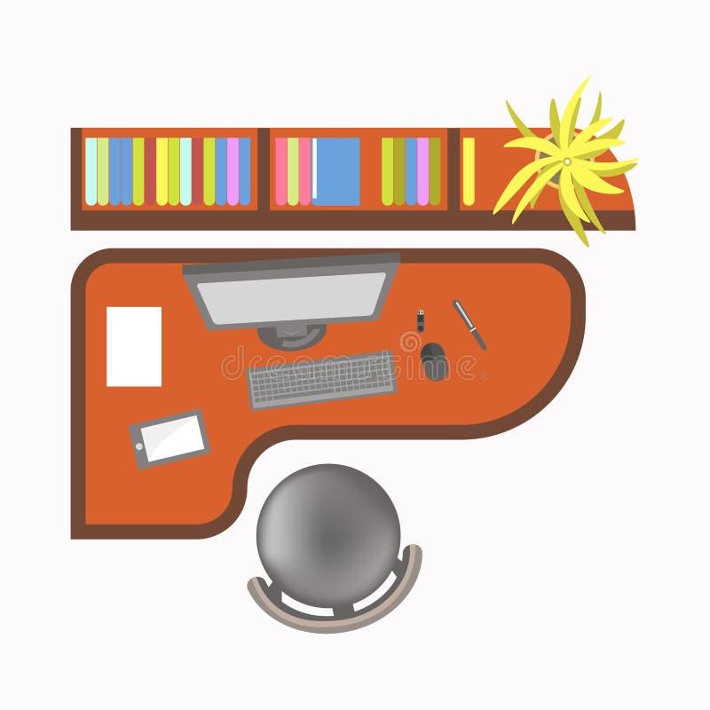 Biurowy miejsce pracy z komputerem, nowożytną pastylką i kolorowymi falcówkami, royalty ilustracja