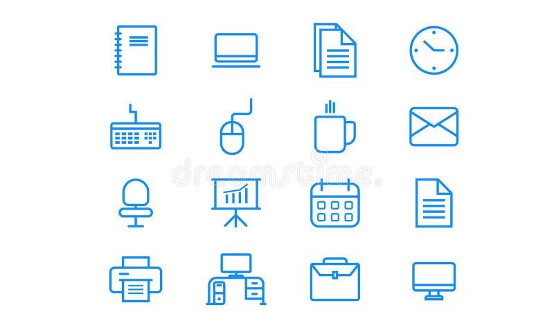 Biurowy minimalistyczny ikona set ilustracja wektor