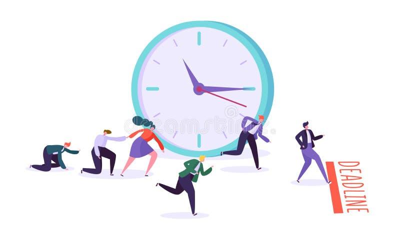 Biurowy ostateczny termin i biznesowi charaktery turniejowi Czasu zarządzanie na drodze sukces grupa działający biznesmeni ilustracji