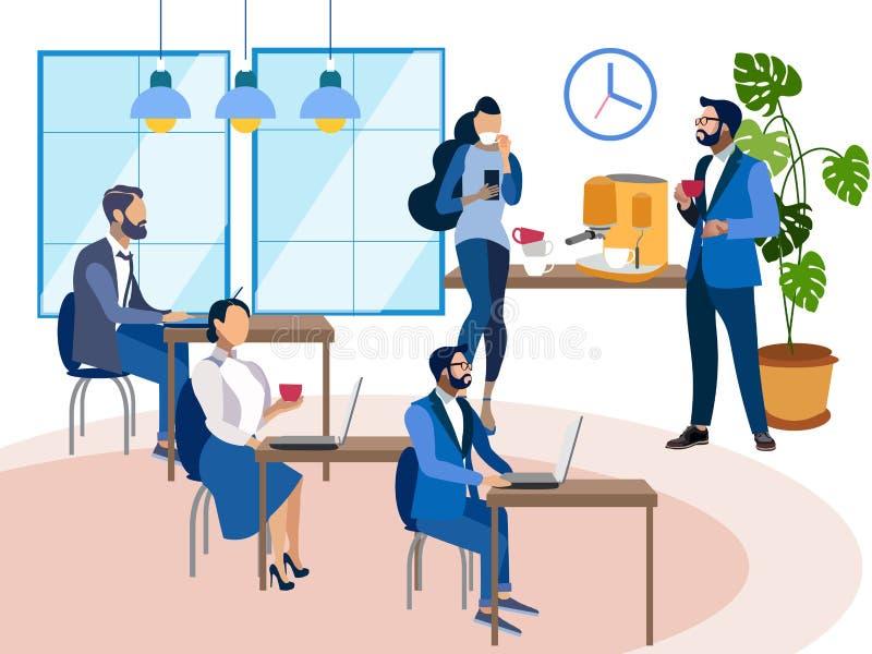 Biurowy personel przy miejsce pracy wewnętrzna przestrzeń W minimalisty stylu kreskówki mieszkania wektorze ilustracji