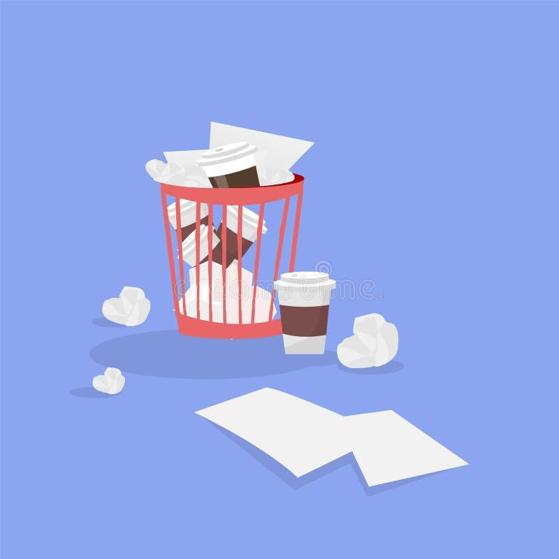 Biurowy plastikowy kubeł na śmieci z zmiętymi papierami royalty ilustracja