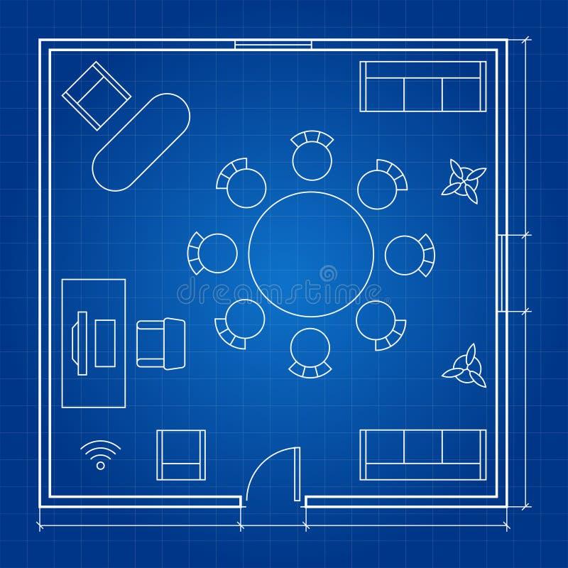 Biurowy podłogowy plan z liniowymi wektorowymi symbolami ilustracji