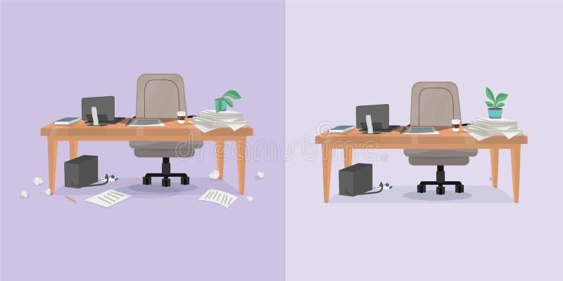 biurowy pracujący miejsce i czyścić ilustracji