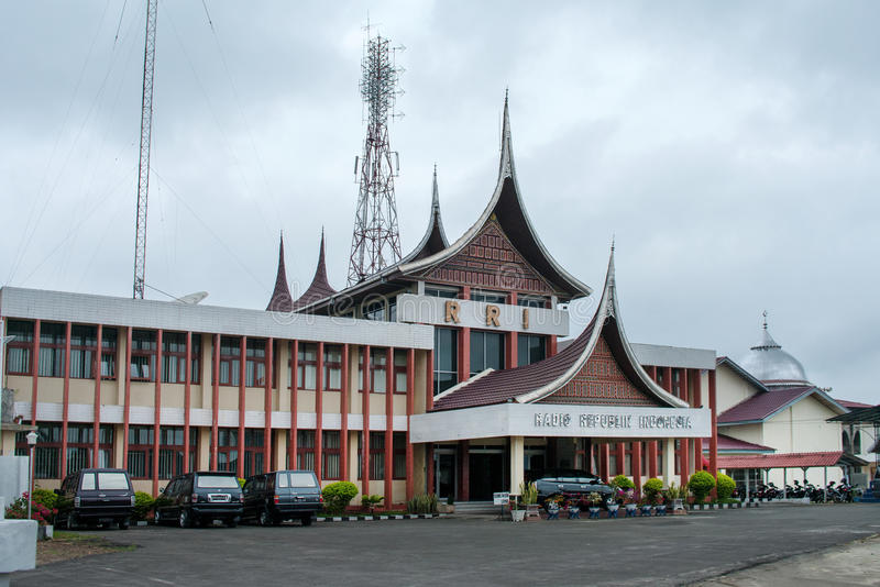 Biurowy radio Republika Indonezja w Bukittinggi, Indonezja zdjęcia royalty free