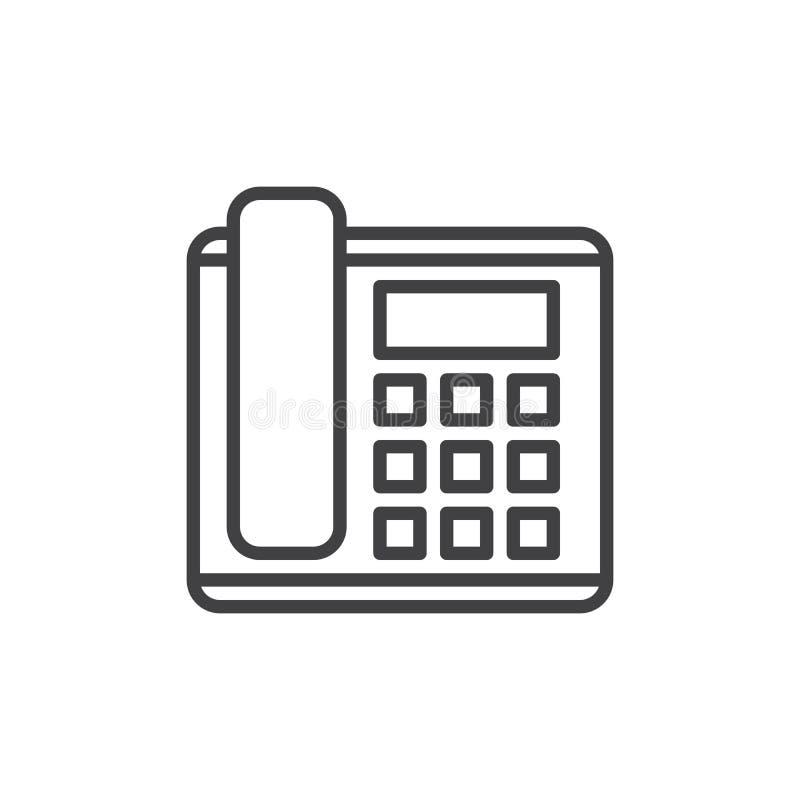 Biurowy telefon, linii telefonicznej ikona, konturu wektoru znak, liniowy stylowy piktogram odizolowywający na bielu ilustracja wektor