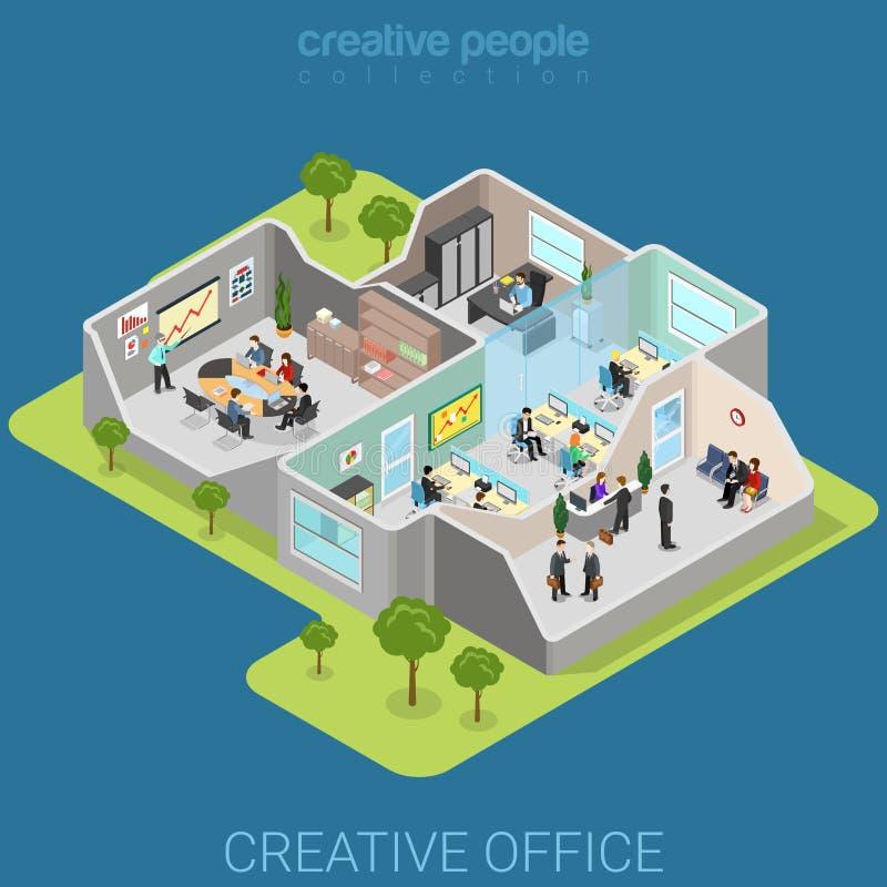 Biurowy wewnętrzny korporacyjnego działu płaski isometric wektor 3d ilustracja wektor