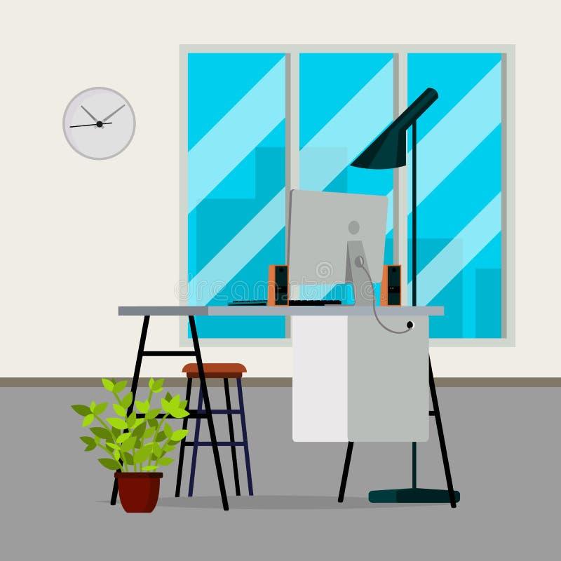 Biurowy Wewnętrzny wektor wnętrze nowoczesne projektu Biznesowego biura miejsce pracy Płaska ilustracja ilustracja wektor