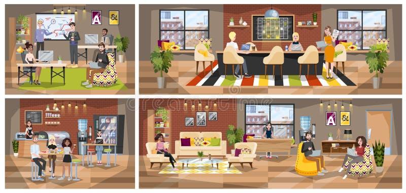 Biurowy wnętrze Coworking firma, miejsce pracy dla freelance ilustracji
