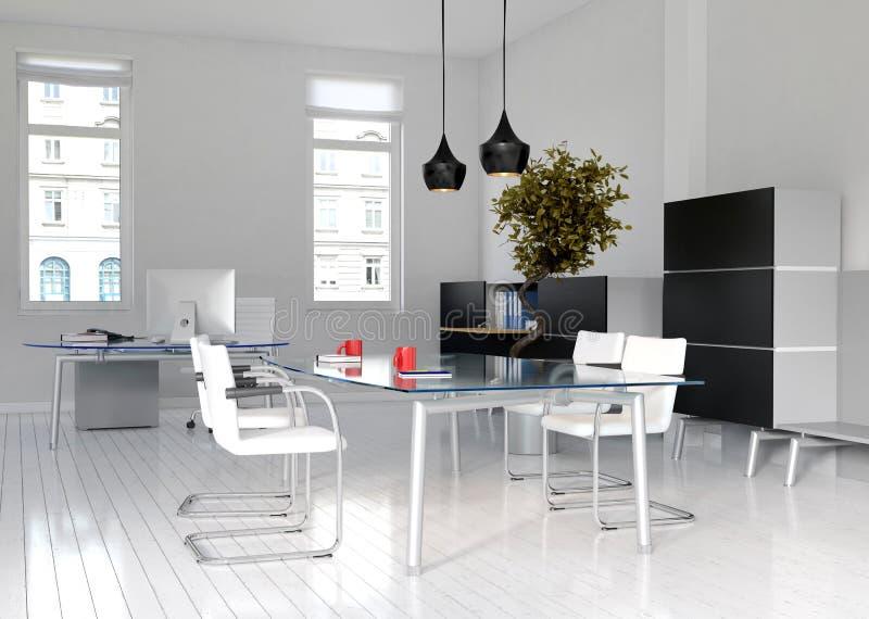 Biurowy wnętrze i pokój konferencyjny ilustracji