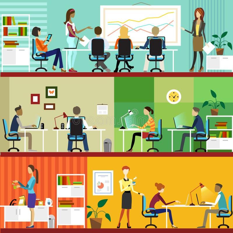 Biurowy wnętrze i pracujący ludzi royalty ilustracja