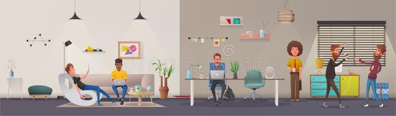 Biurowy wnętrze Nowożytny mieszkania scandinavian lub loft projekt obcy kreskówki kota ucieczek ilustraci dachu wektor royalty ilustracja