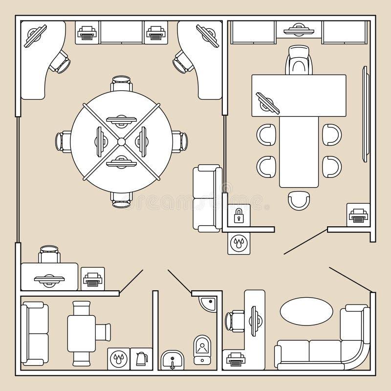 Biurowy wnętrze, odgórnego widoku architektury planu wektoru ilustracja ilustracja wektor