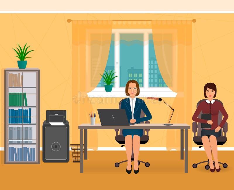 Biurowy wnętrze z dwa pracownikiem Biznesowi charaktery na miejscu pracy ilustracja wektor