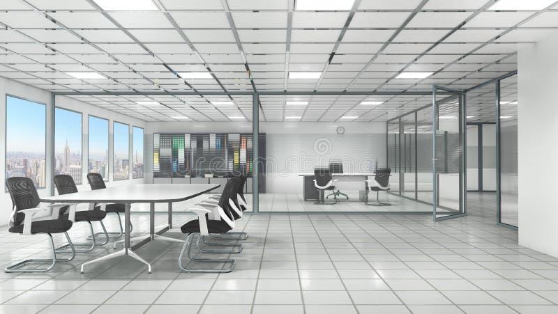 Biurowy wnętrze z pokojem konferencyjnym ilustracja wektor
