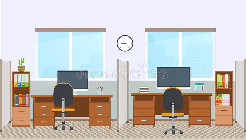 Biurowy wnętrze z stacją roboczą Miejsce pracy w powierzchni biurowa royalty ilustracja
