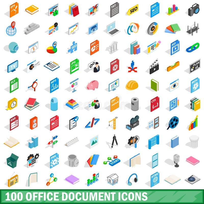 100 biurowych dokumentów ikon ustawiających, isometric 3d styl royalty ilustracja