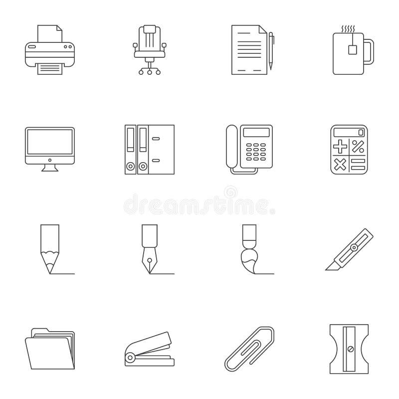 Biurowych dostaw linii ikony ustawiać ilustracja wektor