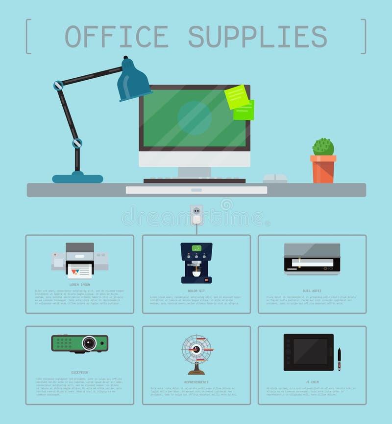 Biurowych dostaw plakata grupy komputerowego wyposażenia bezszwowy wzór Laptop, monitor, pastylka komputer osobisty, drukarki sie royalty ilustracja