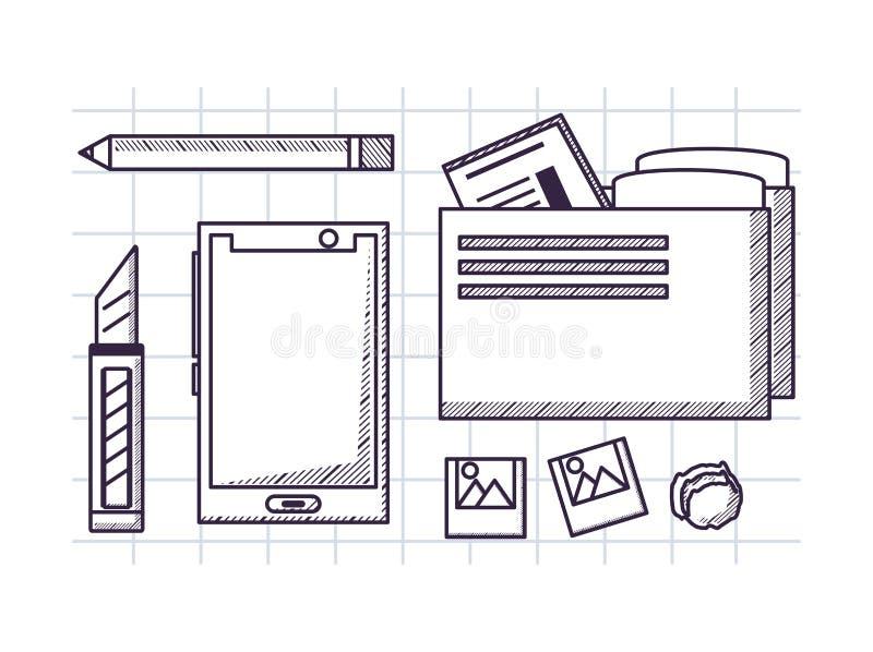 Biurowych dostaw projekt ilustracji