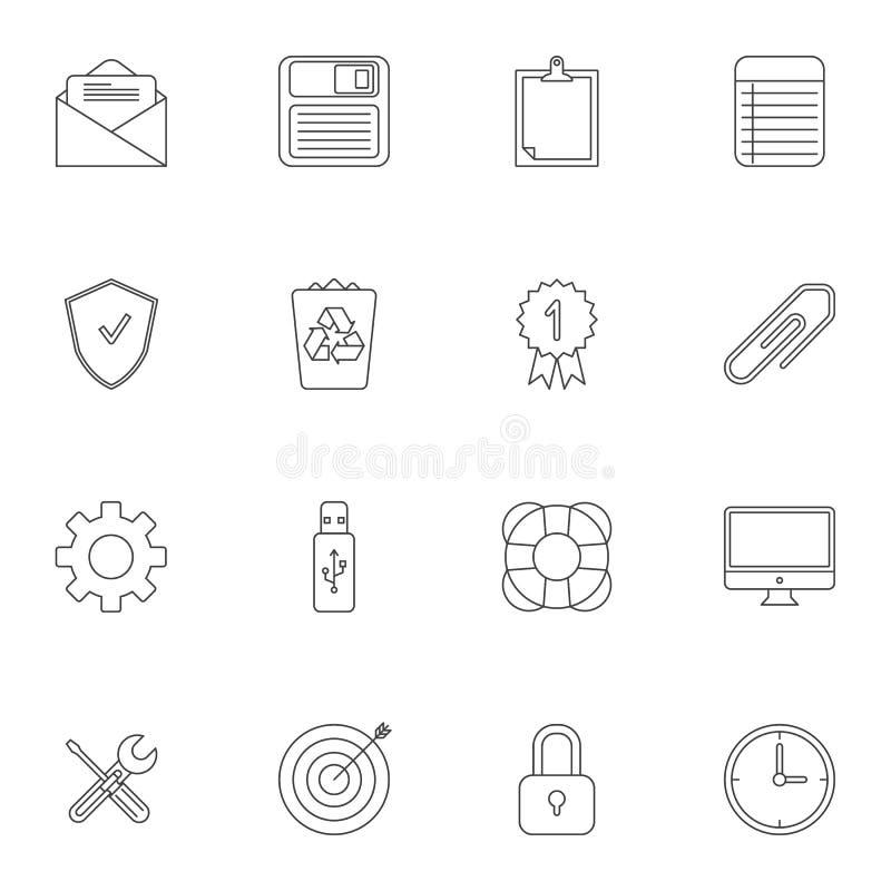 Biurowych rzeczy kreskowe ikony ustawia? ilustracja wektor