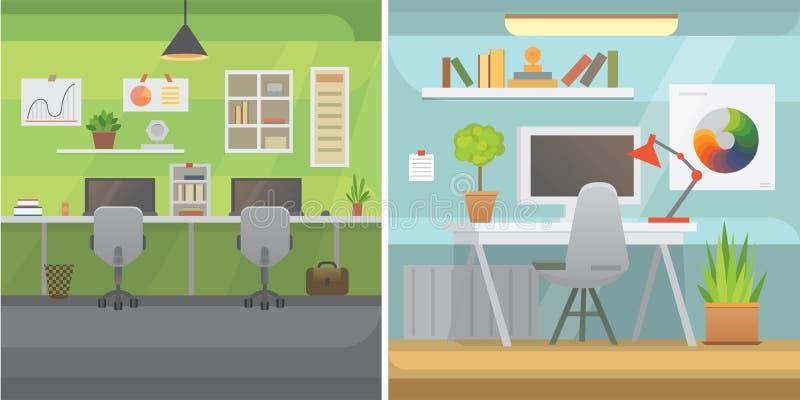 Biurowych wnętrzy horyzontalni sztandary Biznesowy miejsce pracy z komputerem i stołem ilustracji
