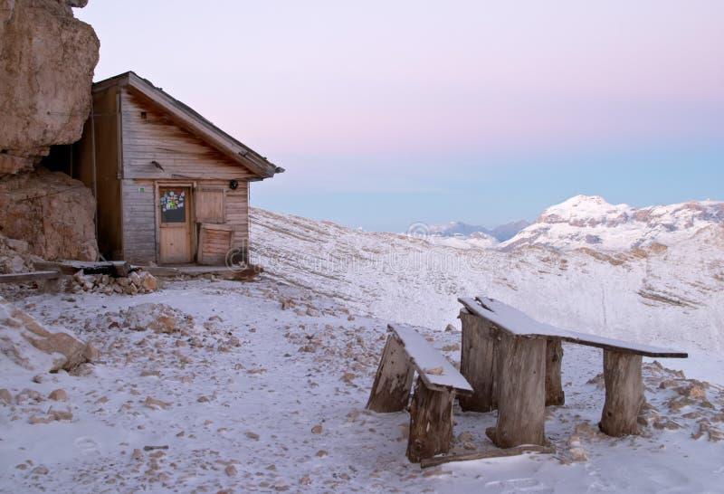 Bivacco della Pace, Dolomites stock photography