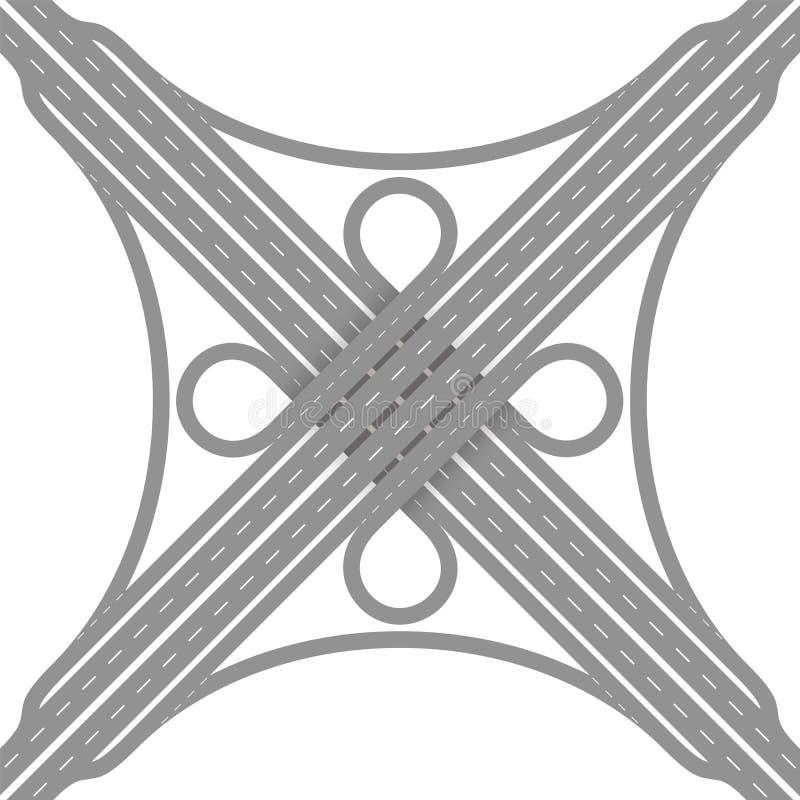 Bivio di scambio del raccordo a quadrifoglio illustrazione vettoriale