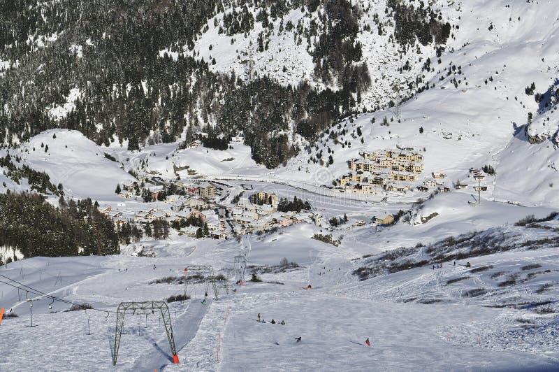 Bivio Ski Resort. Mountain scenery in the alpine ski resort Bivio - Switzerland royalty free stock images