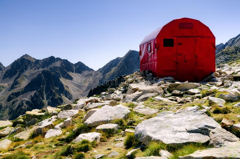 Bivouac mountain shelter stock images