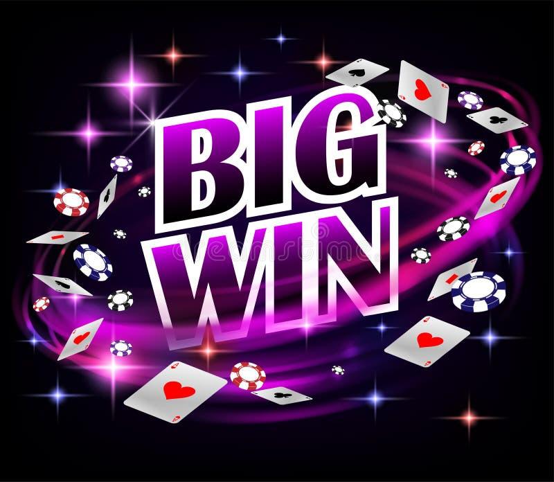 Biw wygrany grzebaka Kasynowy Uprawia hazard projekt Grzebaka sztandar z układami scalonymi i karta do gry Online Kasynowy sztand ilustracja wektor